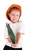 Beautiful little girl with drill Royalty Free Stock Photos