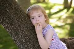 Beautiful little girl eating biscuit over tree stock image