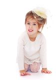 Beautiful little girl in a fashionable hat Royalty Free Stock Photo