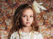 Free Beautiful Little Girl. Floral Background.funny Child Stock Photos - 60425533