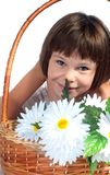 Beautiful little girl with flowers Royalty Free Stock Photos