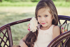 Beautiful little girl with flowing hair royalty free stock photos