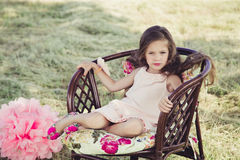 Beautiful little girl with flowing hair stock photography
