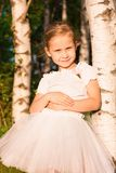 Beautiful little girl in the forest near birch Stock Images