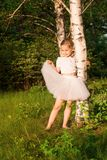 Beautiful little girl in the forest near birch Royalty Free Stock Images