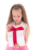 Beautiful little girl with gift isolated on white Royalty Free Stock Photography