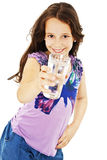 Beautiful little girl with glass of water Royalty Free Stock Photography
