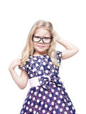 Beautiful little girl in glasses annoyed isolated Stock Images