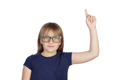Beautiful little girl with glasses asking to speak Royalty Free Stock Image