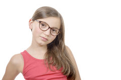Beautiful little girl with glasses isolated on white background Stock Image