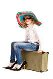 Beautiful little girl going on vacation Stock Images