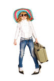 Beautiful little girl going on vacation Stock Photos