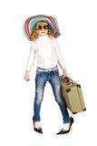 Beautiful little girl going on vacation Stock Photos