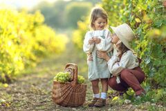Beautiful little girl with grapes. Child with fruit. High quality photo