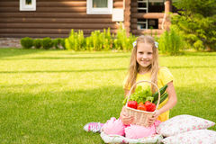 Beautiful little girl on green grass with vegetables in basket Stock Photos