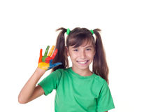 Beautiful little girl with hand in the paint Royalty Free Stock Photo