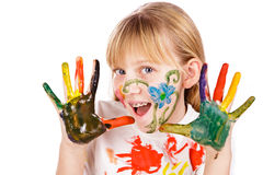 Beautiful little girl with hands painted Royalty Free Stock Images