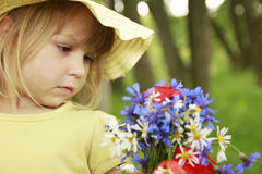 Beautiful little girl in a hat Royalty Free Stock Image