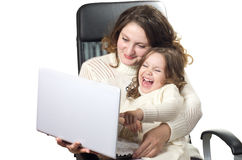 Beautiful little girl and her mother Stock Photos