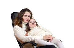 Beautiful little girl and her mother Stock Images
