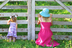 Beautiful little girl with her mother on the natur Stock Photography