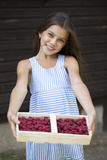 Beautiful little girl holding a box with a raspberry Stock Image