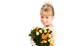 Beautiful little girl holding flowers over white Stock Photography