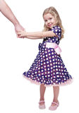 Beautiful little girl holding hand of her father isolated Stock Photo
