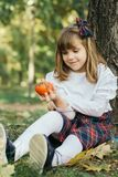 Beautiful little girl  holding a small pumpkin. Close up portrait of a beautiful smiling little girl while  sitting in a park and holding a small pumpkin in her Royalty Free Stock Images