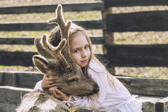 Beautiful little girl hugging animal ROE deer in the sunshine Stock Photos