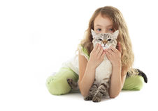 Beautiful little girl with cat. Royalty Free Stock Photography