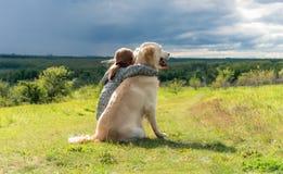 Free Beautiful Little Girl Hugging Loyal Dog Stock Photography - 195478682