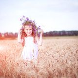 Beautiful Little Girl In A Field Of Wheat Royalty Free Stock Image