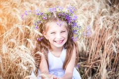 Beautiful Little Girl In A Field Of Wheat Royalty Free Stock Photography