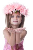 Beautiful Little Girl In Wreath Of Pink Flowers Stock Image