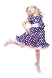 Beautiful little girl jumping isolated Royalty Free Stock Photos