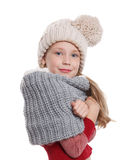 Beautiful little girl in knitted winter accessories Royalty Free Stock Photos