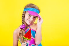 Beautiful little girl with large Lollipop Royalty Free Stock Images