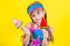 Beautiful little girl with large Lollipop Royalty Free Stock Photo