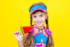 Beautiful little girl with large Lollipop Royalty Free Stock Photography