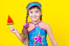 Beautiful little girl with large Lollipop Stock Image