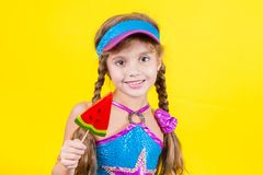 Beautiful little girl with large Lollipop Stock Photography