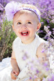 Beautiful little girl in lavender field Royalty Free Stock Image