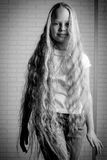 Beautiful little girl with long hair Stock Images
