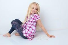Beautiful little girl with long hair svetlyi Stock Image