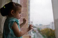 beautiful little girl looking out the window in the rain royalty free stock photography
