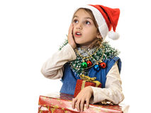 Beautiful little girl looking up Christmas time Stock Photography