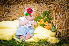 Beautiful little girl lying on a blanket in the hay Stock Images