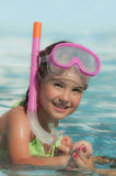 Beautiful little girl with a mask for diving Royalty Free Stock Image