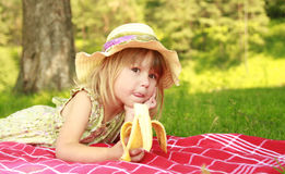 Beautiful little girl on nature Royalty Free Stock Photography